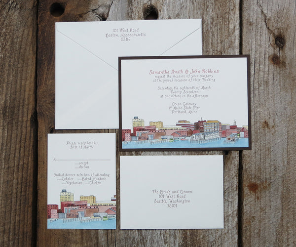 Portand Maine Wedding Invitation