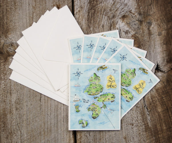 Map Note Cards of Isle of Shoals