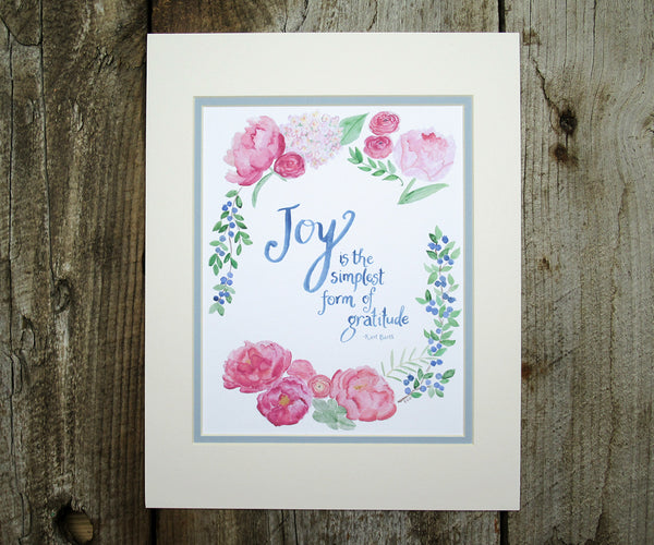 Joy Quote with Peonies Print