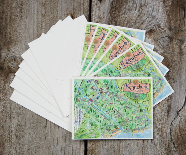 Map Note Cards of Kennebunk, ME