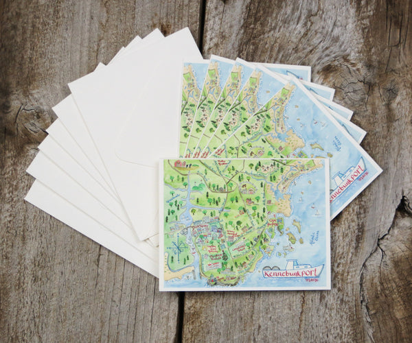 Map Note Cards of Kennebunkport, ME