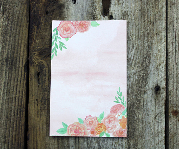 Pink watercolor flowers notepad