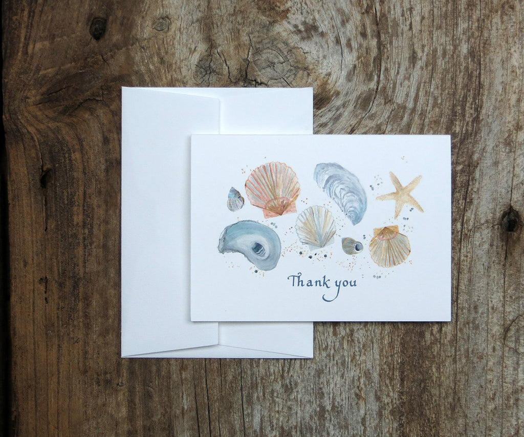Sea shells thank you note