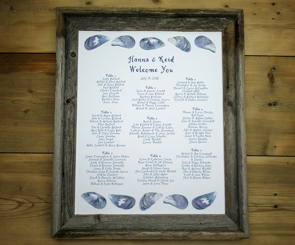 Mussel Shell Seating Chart