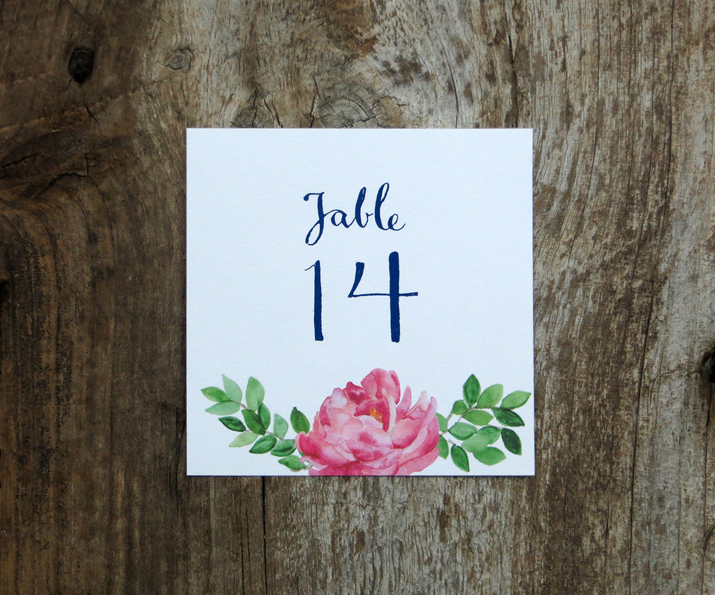 Peony and Greenery Table Signs
