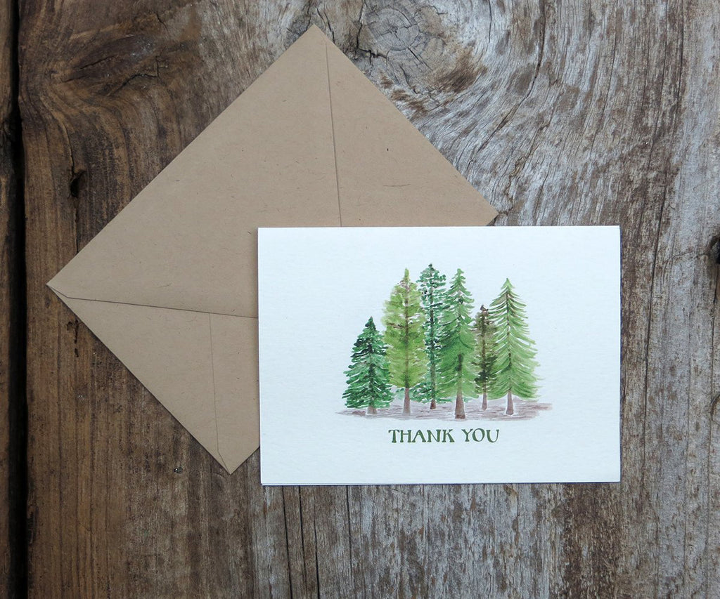 Pine trees thank you note