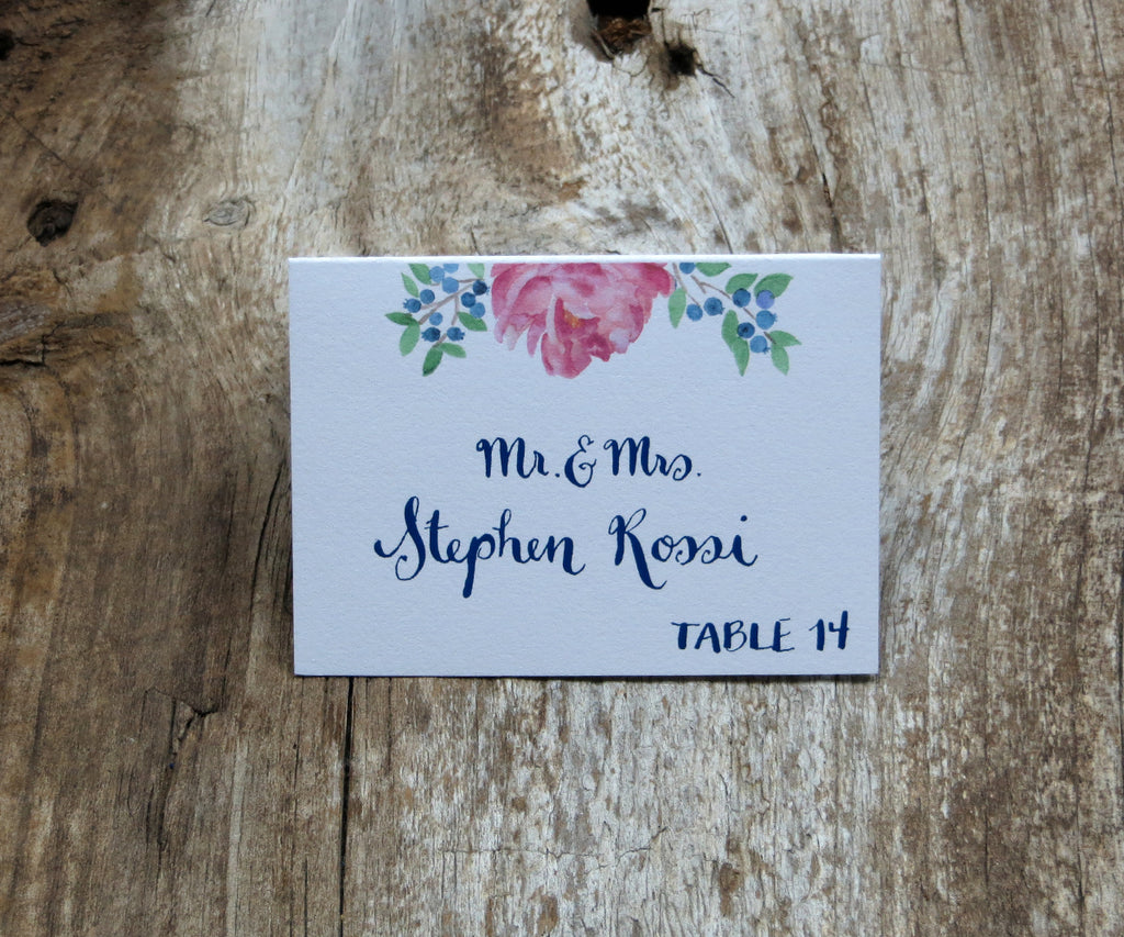 Peony and Blueberries Escort/Place Card