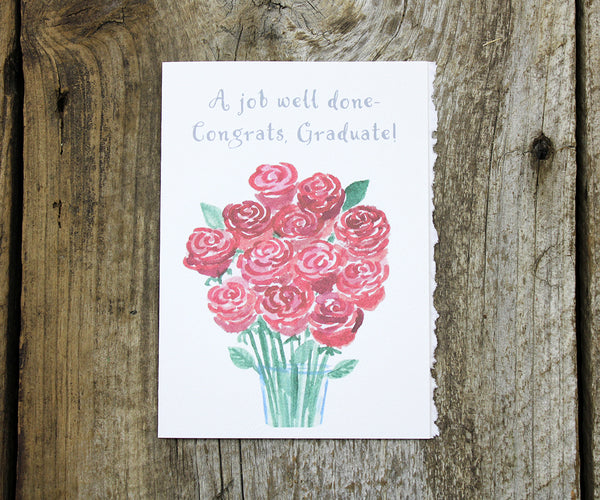 Rose Bouquet Graduation Card