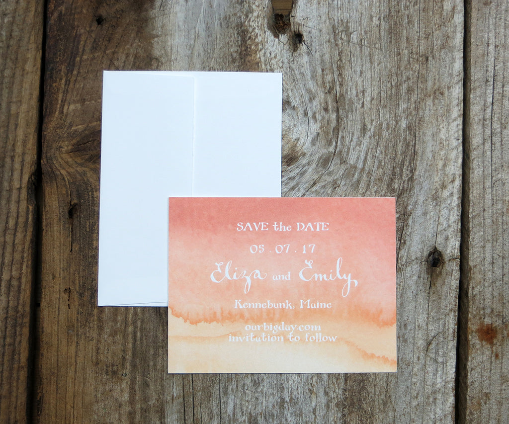 Coral Ombre Save the Date