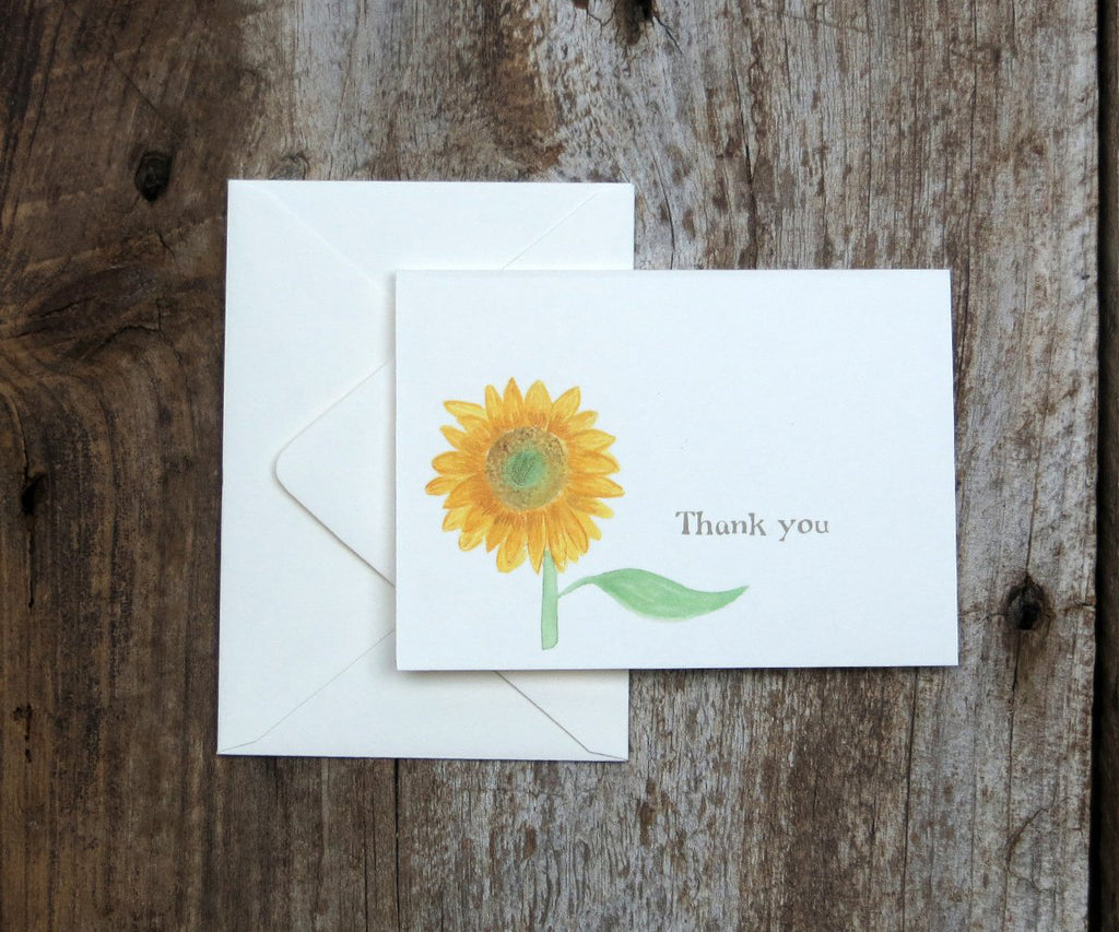 Sunflower thank you note