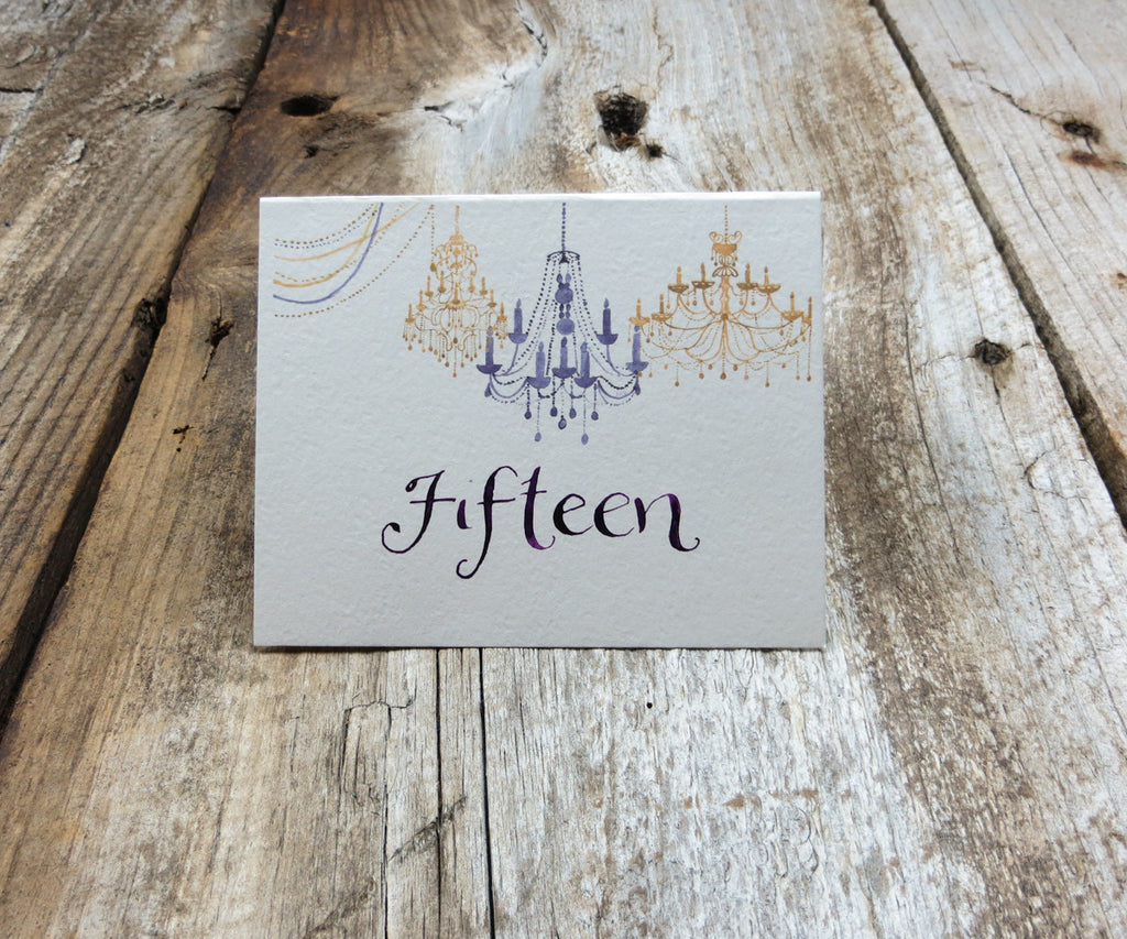 Gold Chandelier Table Signs