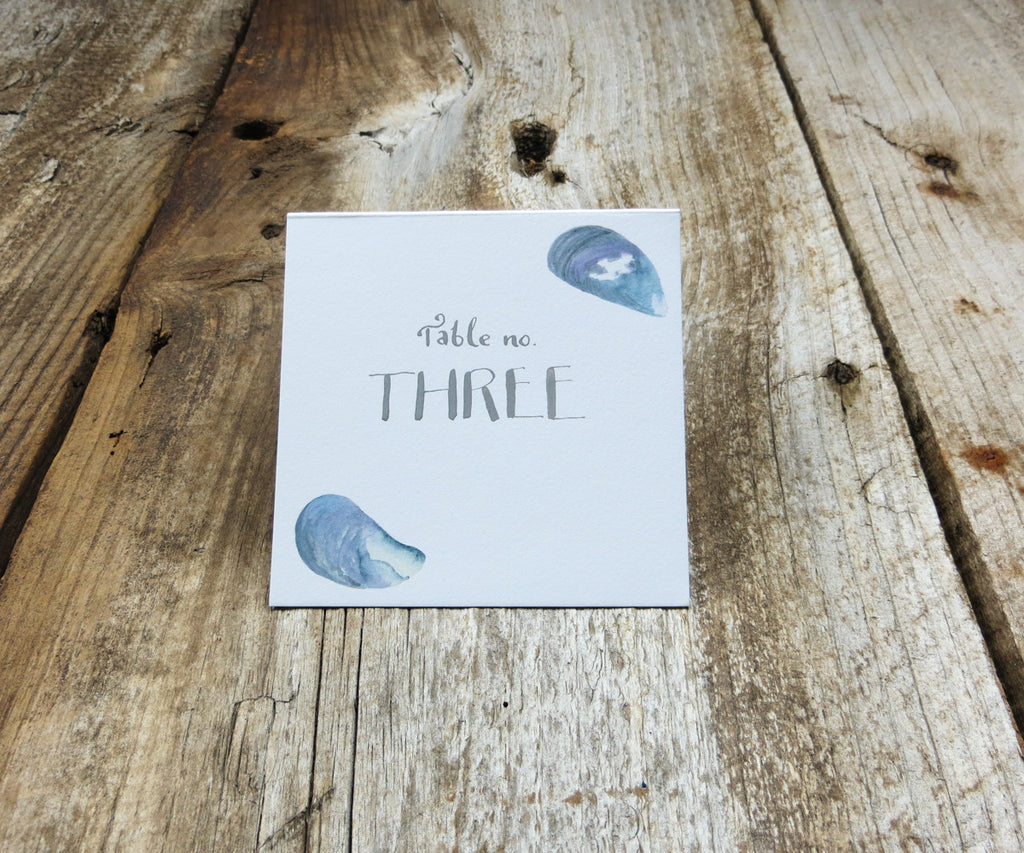 Mussel Shells Table Signs