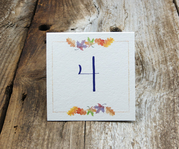 October Leaves Table Signs