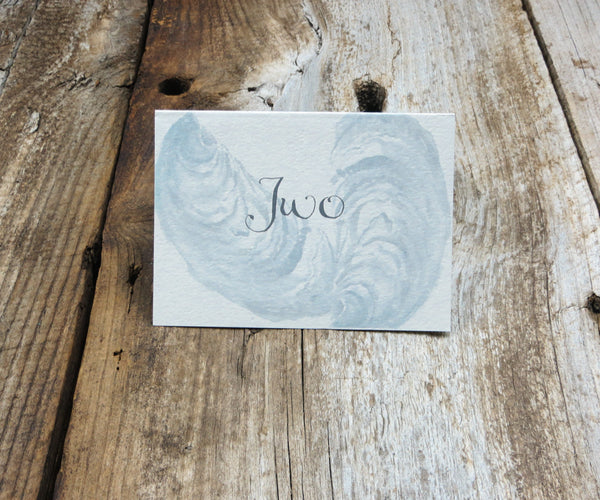 Oyster with Sand Border Table Signs