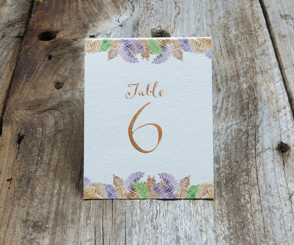 Autumn Trees with Ferns Table Signs