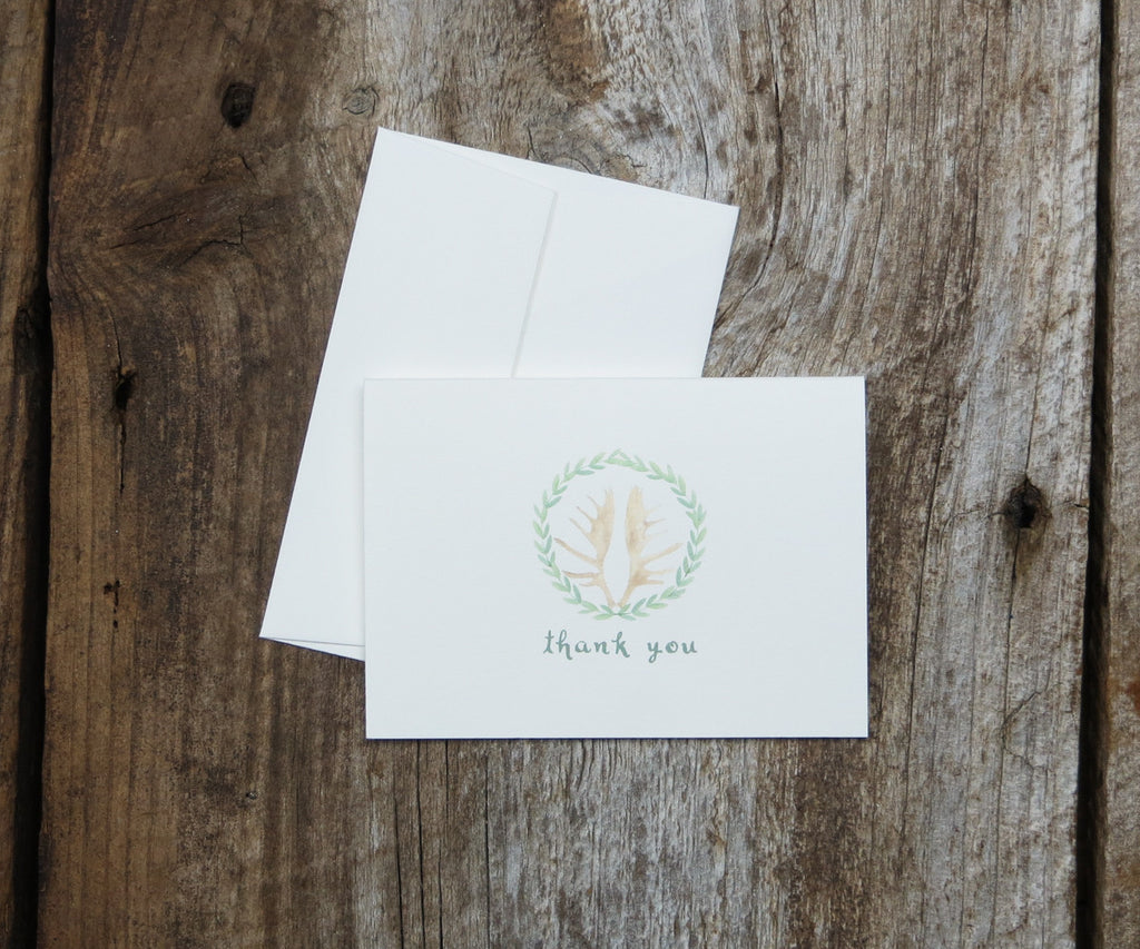 Antler Wreath Thank You Notes