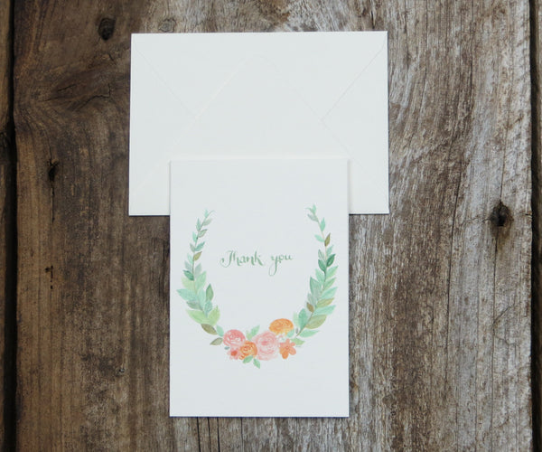 Floral Wreath Thank You Notes