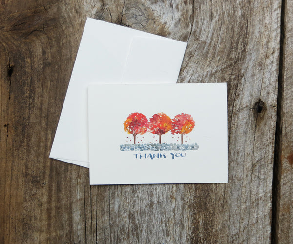 3 Foliage Trees Thank You Notes