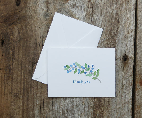 Blueberries Thank You Notes