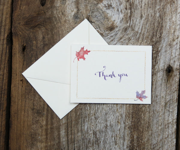 Maple Leaves Thank You Notes