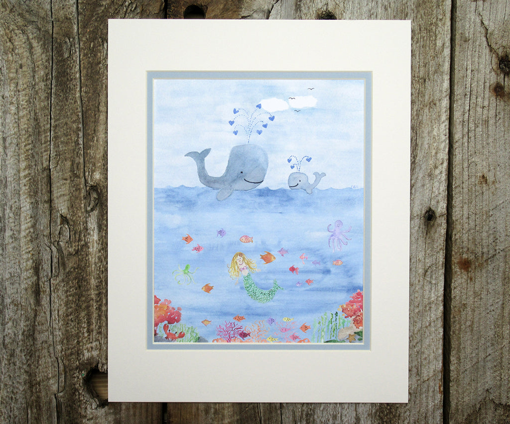 whales and mermaid print