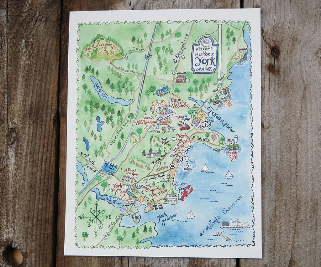 York, Maine map