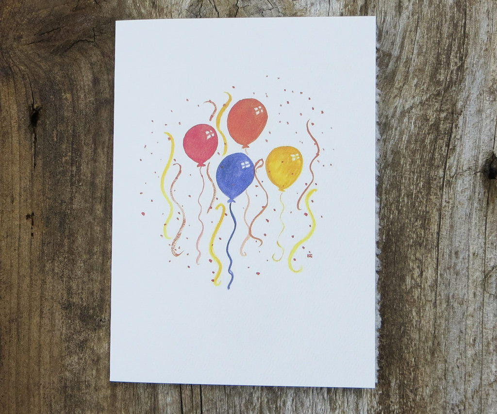 balloons with confetti card