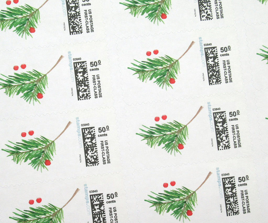 Berries & Bough Christmas Stamps