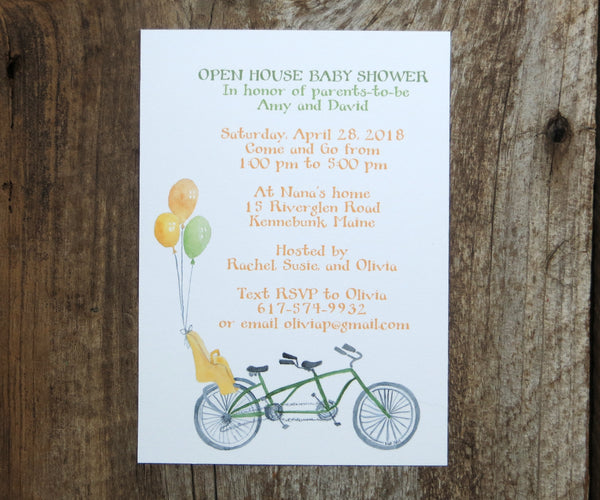 Bike for 3 Baby Shower Invitation