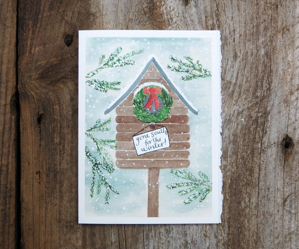 Bird House Holiday Card