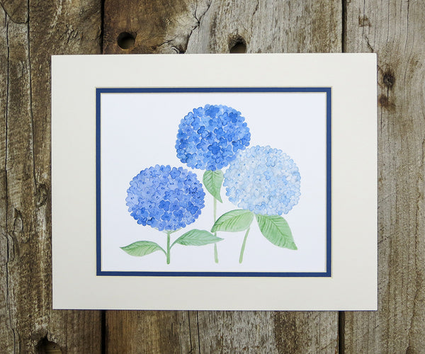 Beautiful Blue Hydrangeas Floral Print