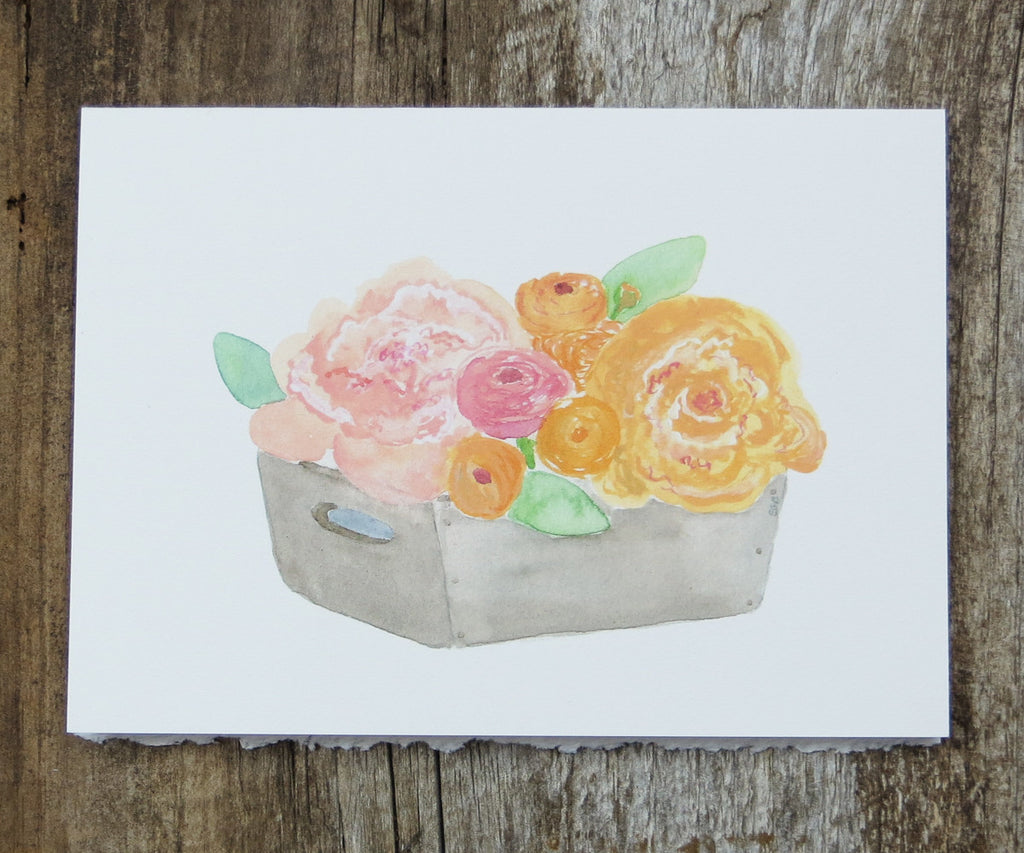 box of peach flowers