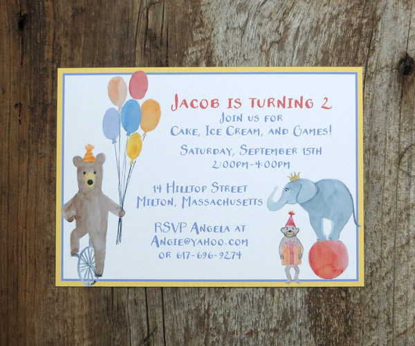 Circus Animals Birthday Invitation