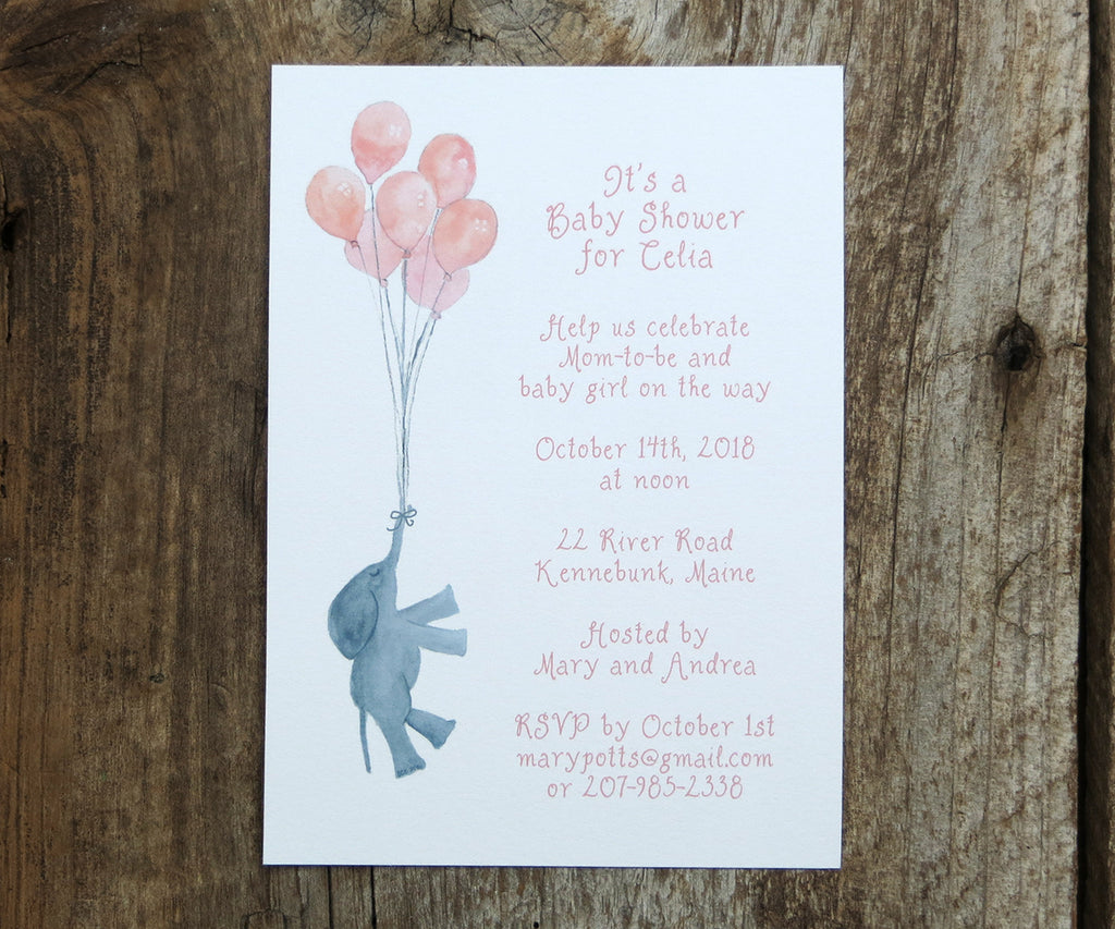 Baby Girl Elephant Shower Invitations