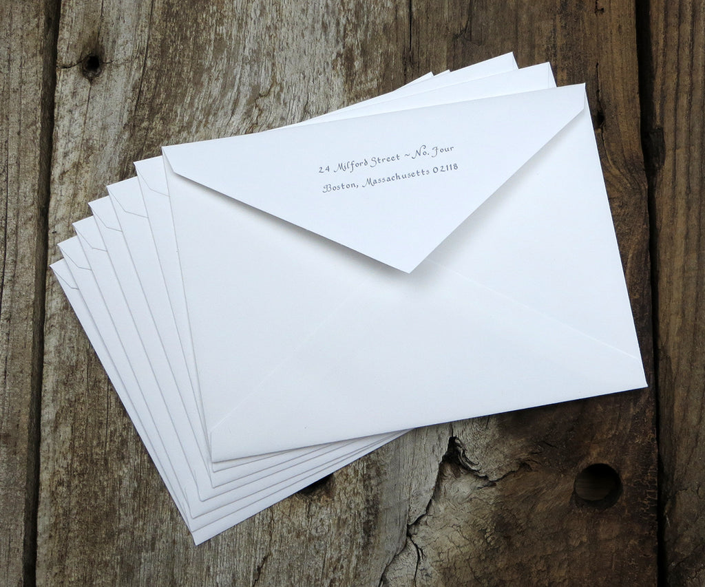 Extra envelopes with return address on the flap