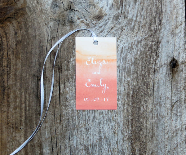 Coral Ombre Favor Tags
