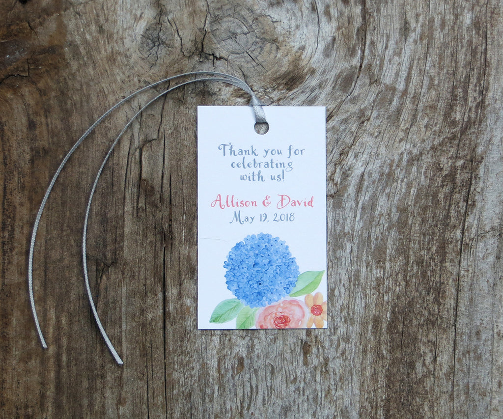 Hydrangeas and Roses Favor Tags