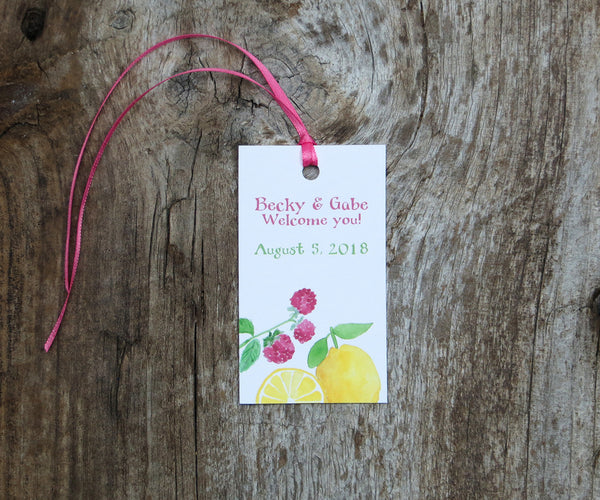 Lemon Raspberry Favor Tags