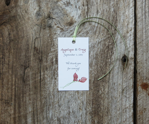 Deep Red Calla Lilies Favor Tags