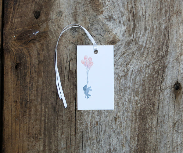 Baby Girl Elephant Gift Tags