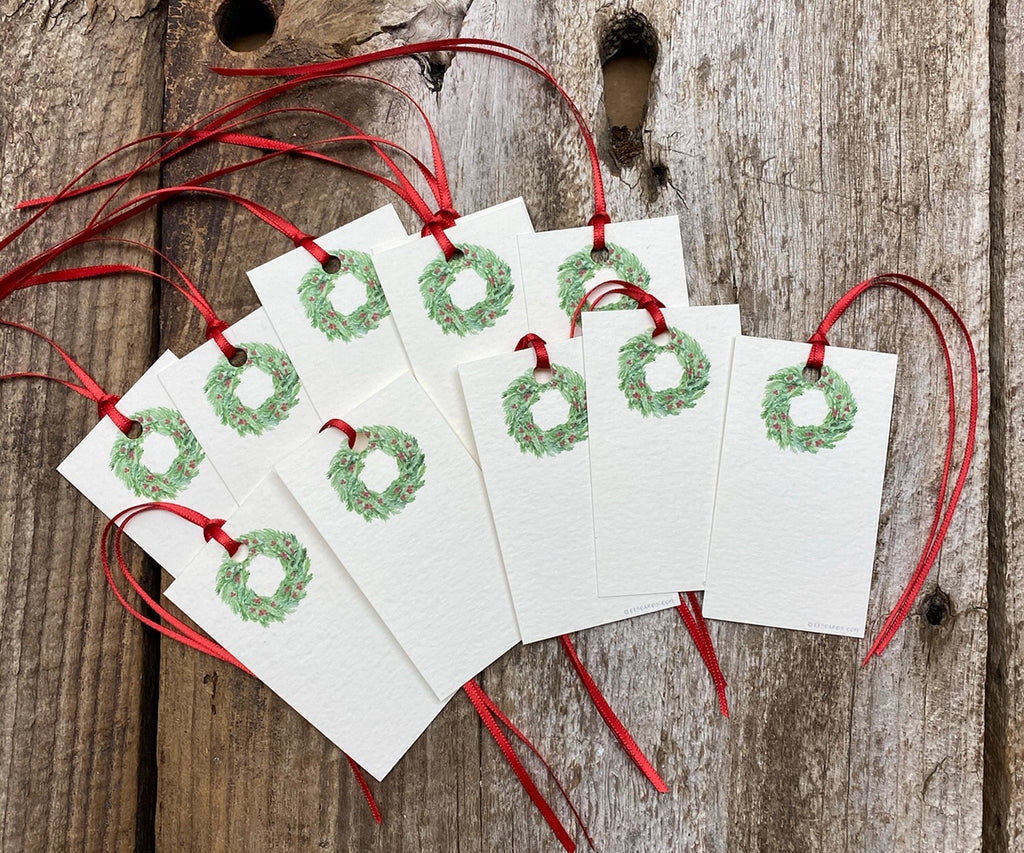Festive Wreath holiday tags