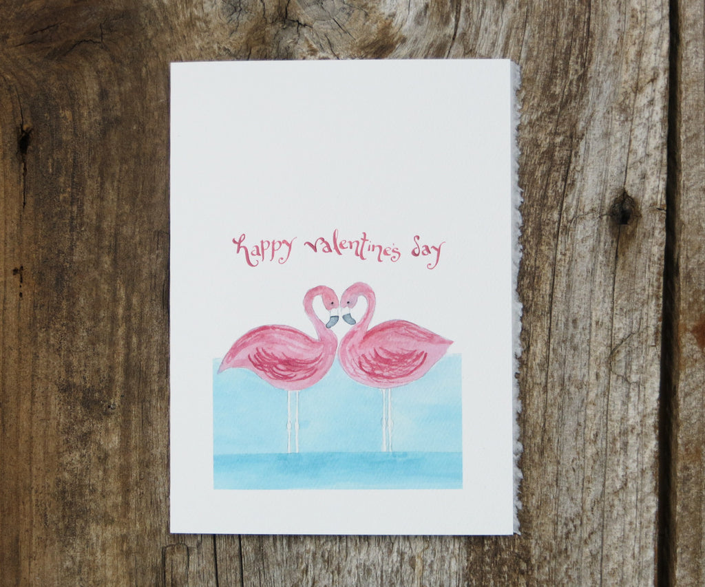 Flamingoes Valentines Card