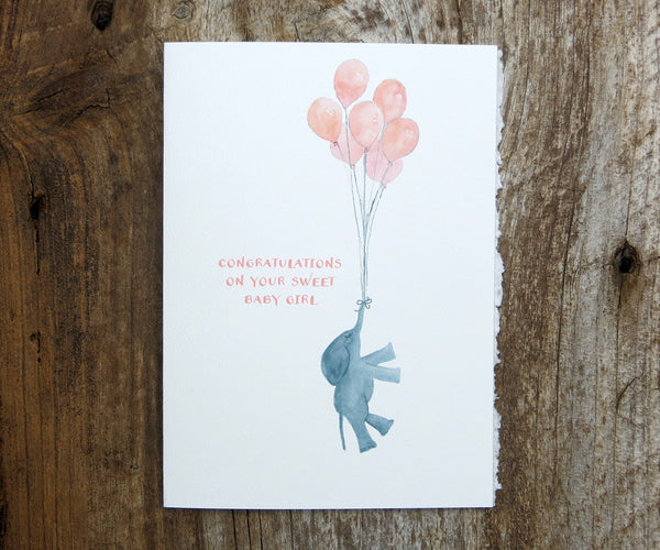 New Baby Girl Elephant Card
