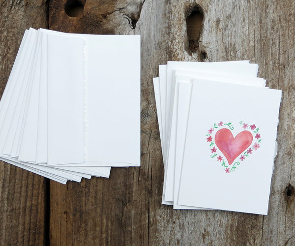 Floral heart valentine notes