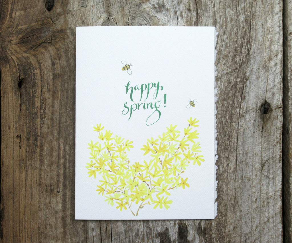 Forsythia spring card with bees