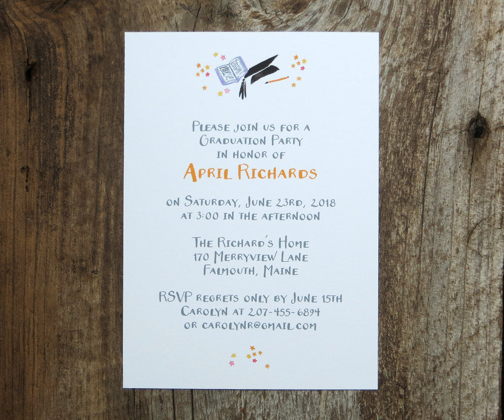 Hats & Stars Graduation Invitation