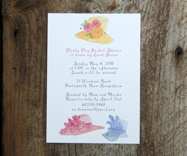 Fancy Hats Bridal Shower Invitation