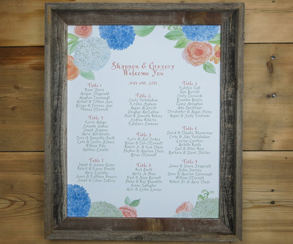 Hydrangeas & Roses Seating Chart