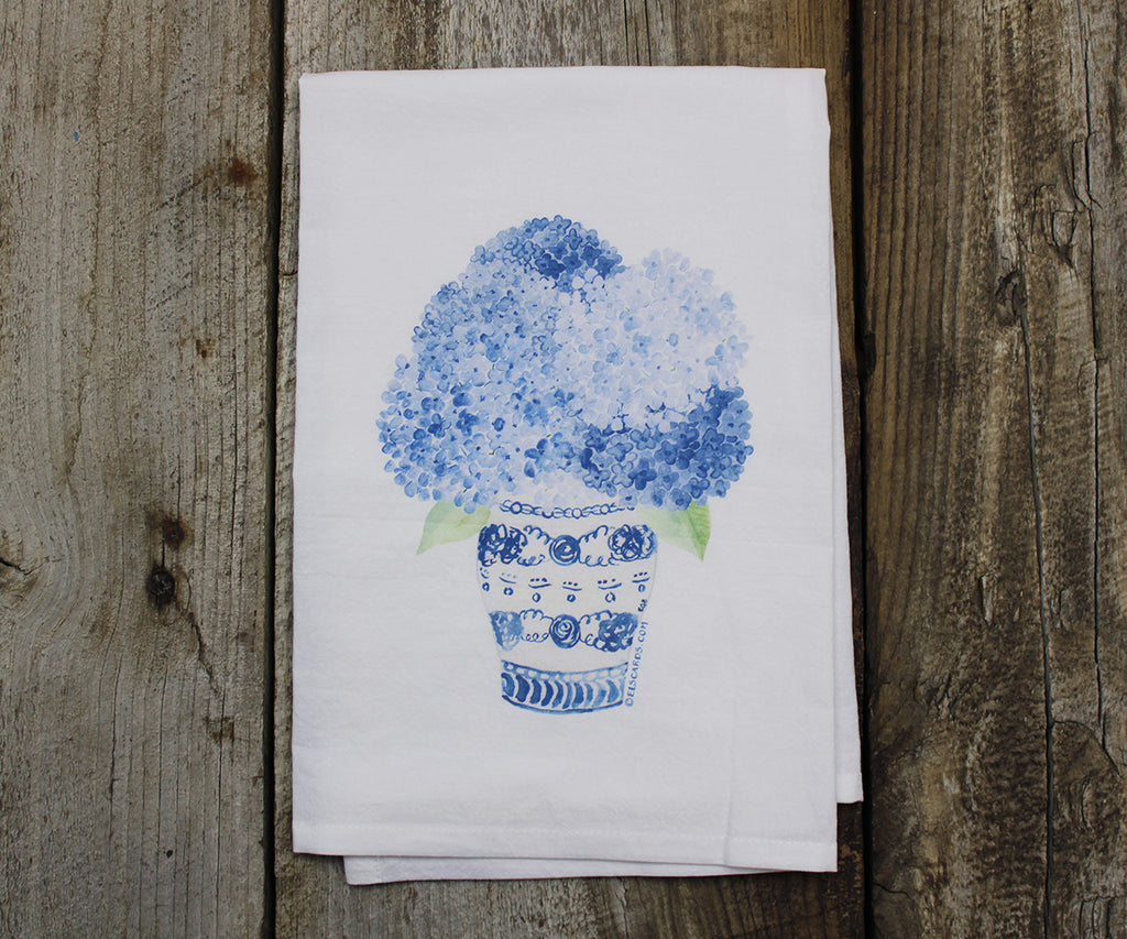 Hydrangea in ginger jar tea towel