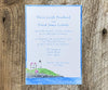 Beach Rose Lighthouse Wedding Invitation